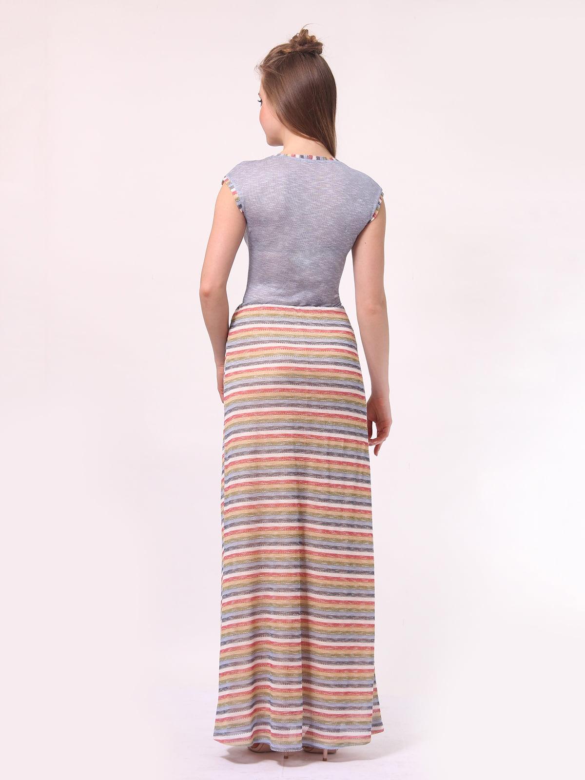Платье голубое с юбкой в полоску | 4142291 | фото 4
