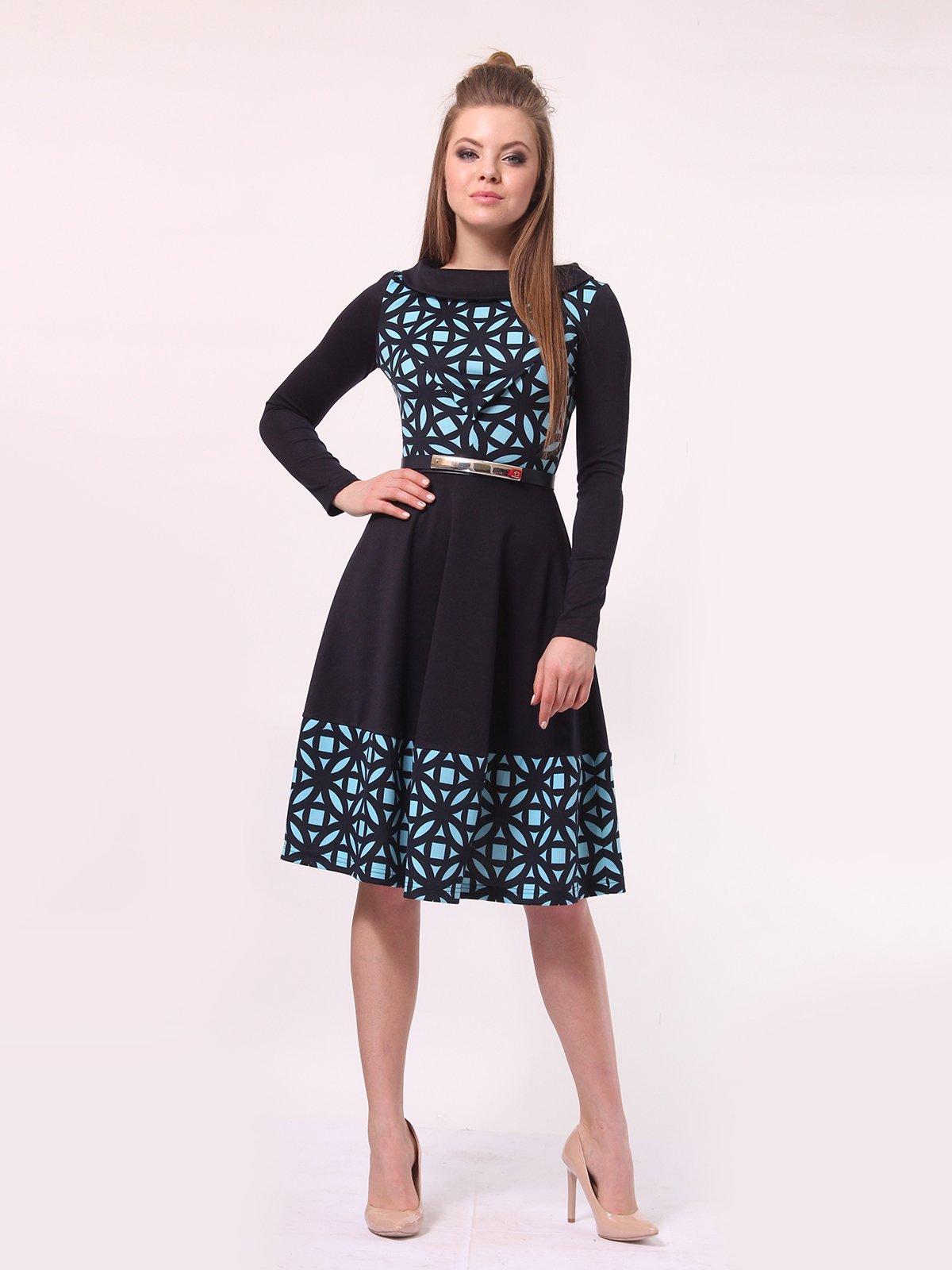 Платье темно-синее в голубой принт | 4142308