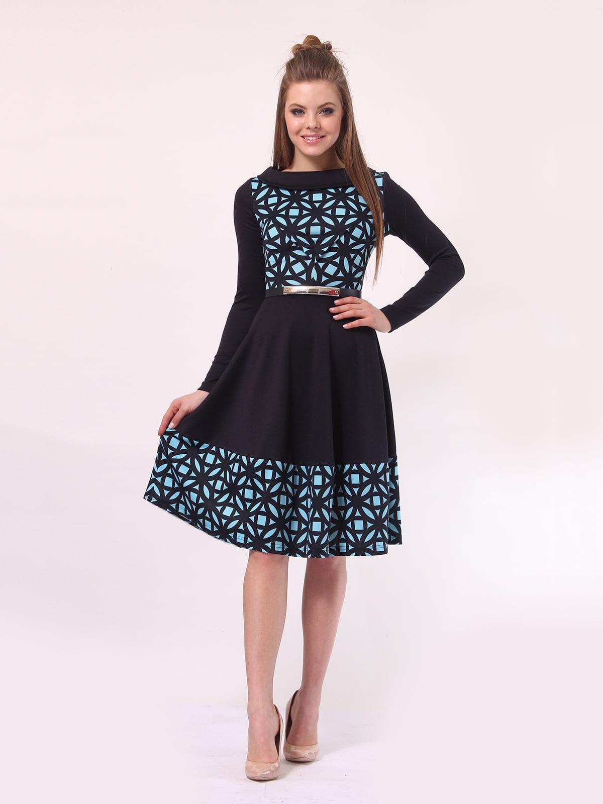Платье темно-синее в голубой принт | 4142308 | фото 2