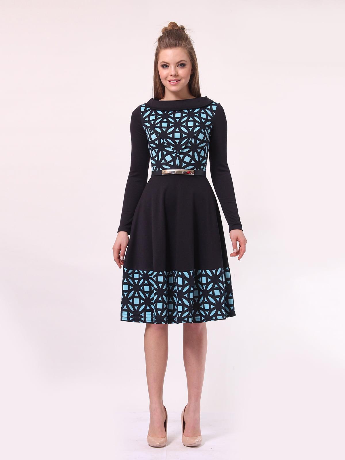Платье темно-синее в голубой принт | 4142308 | фото 3