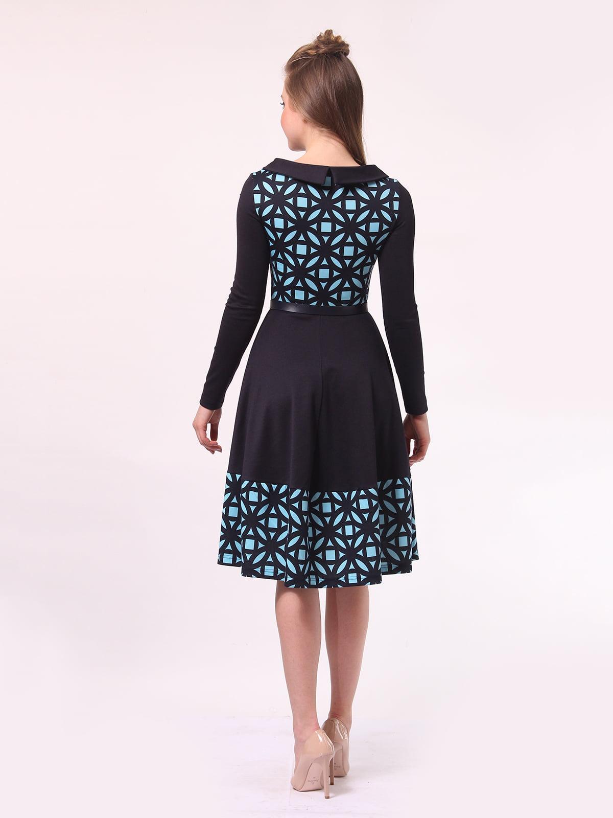 Платье темно-синее в голубой принт | 4142308 | фото 4