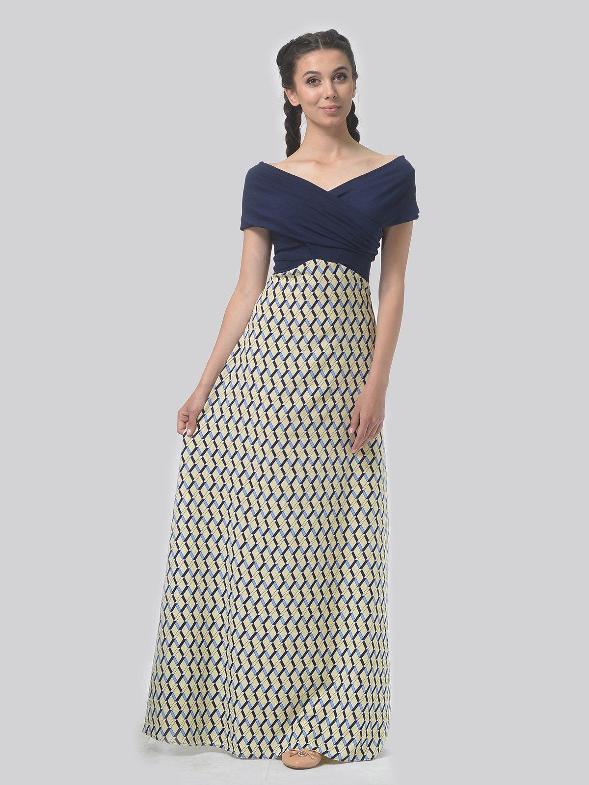 Сукня синьо-жовта в принт | 4142127