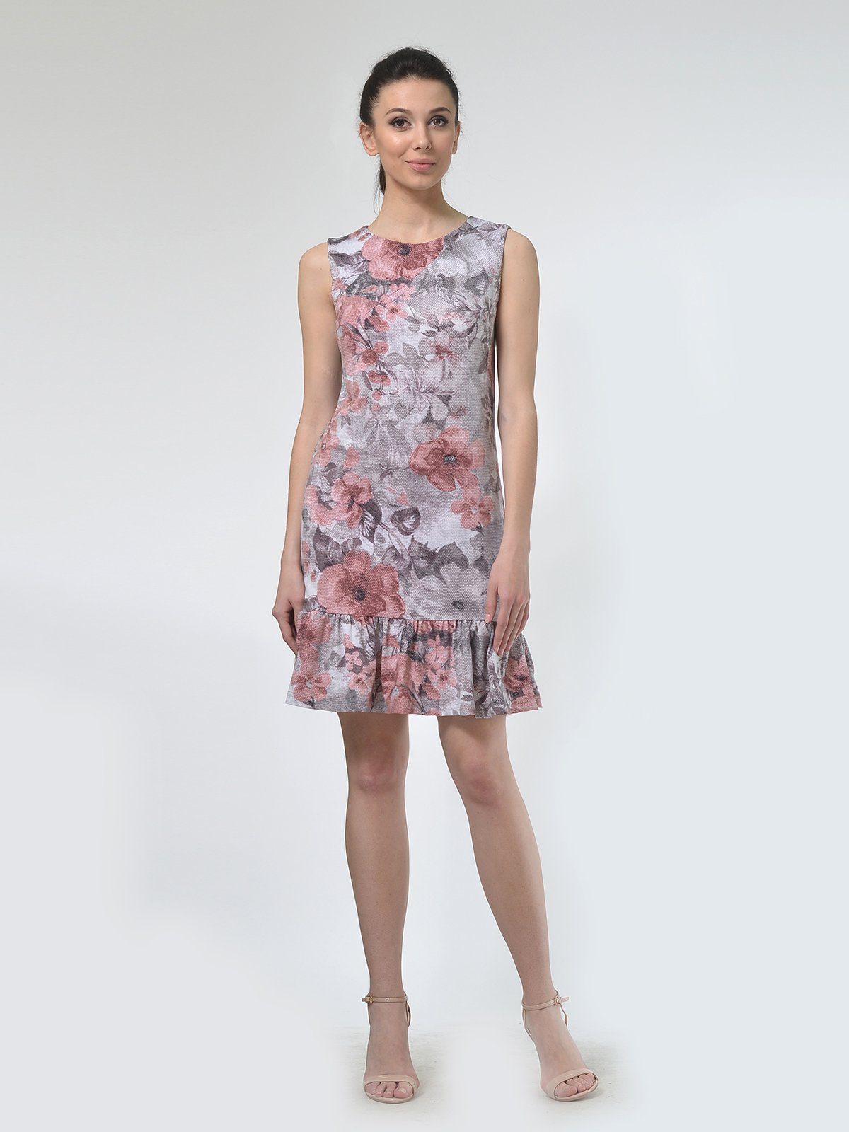 Платье бежевое в цветочный принт | 4142250