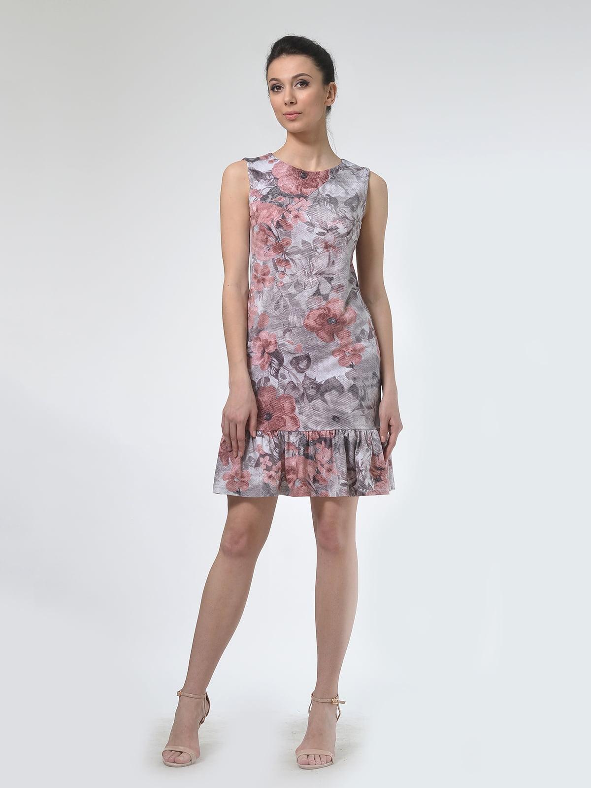 Платье бежевое в цветочный принт | 4142250 | фото 2
