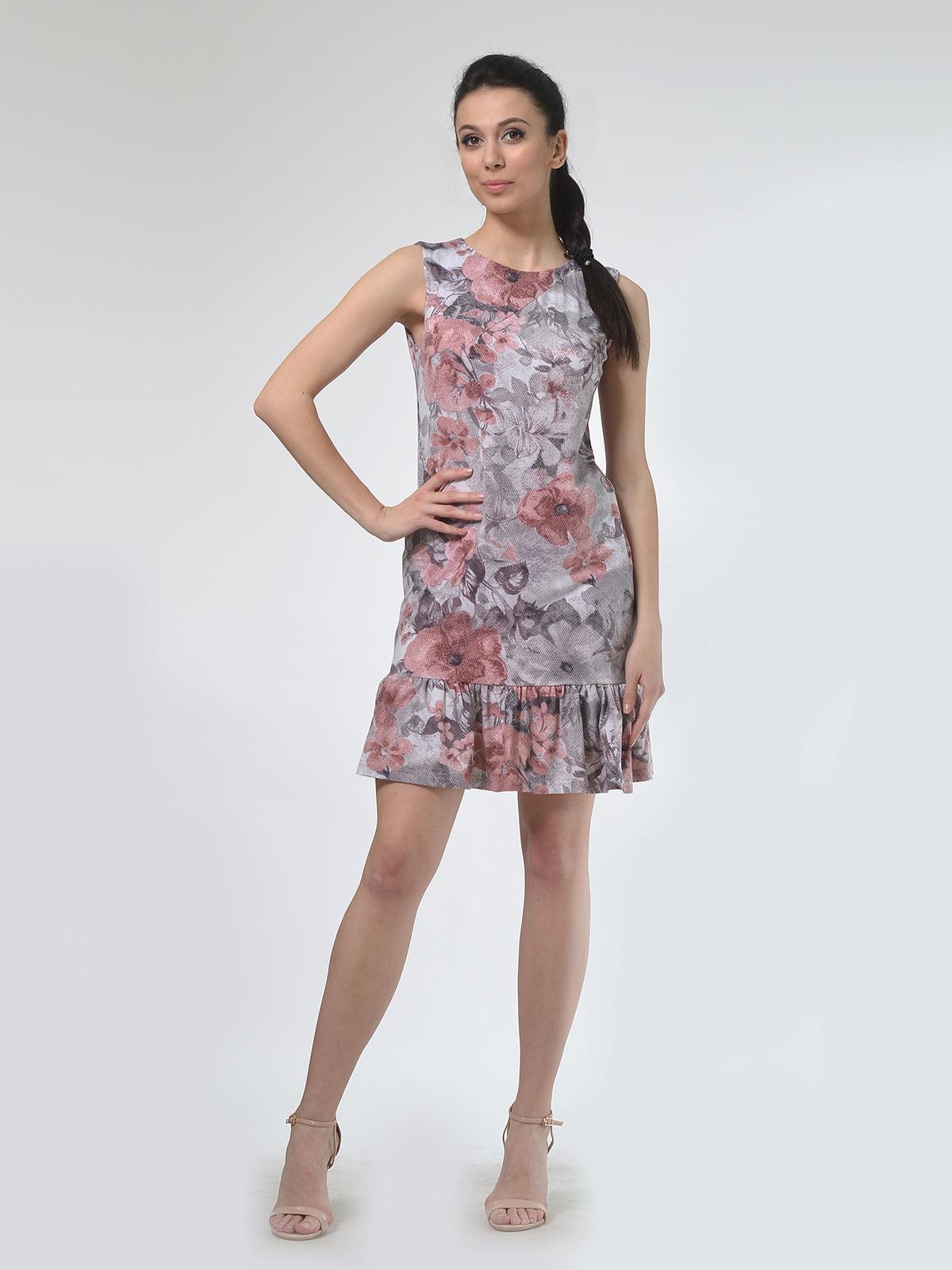 Платье бежевое в цветочный принт | 4142250 | фото 3