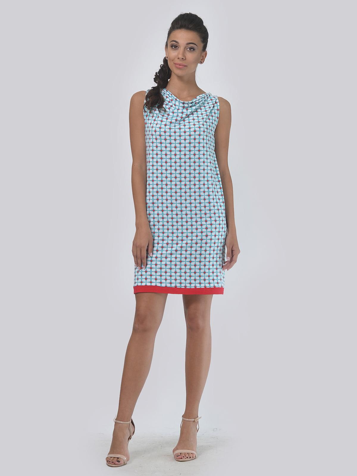 Платье молочно-голубого цвета в принт | 4142100