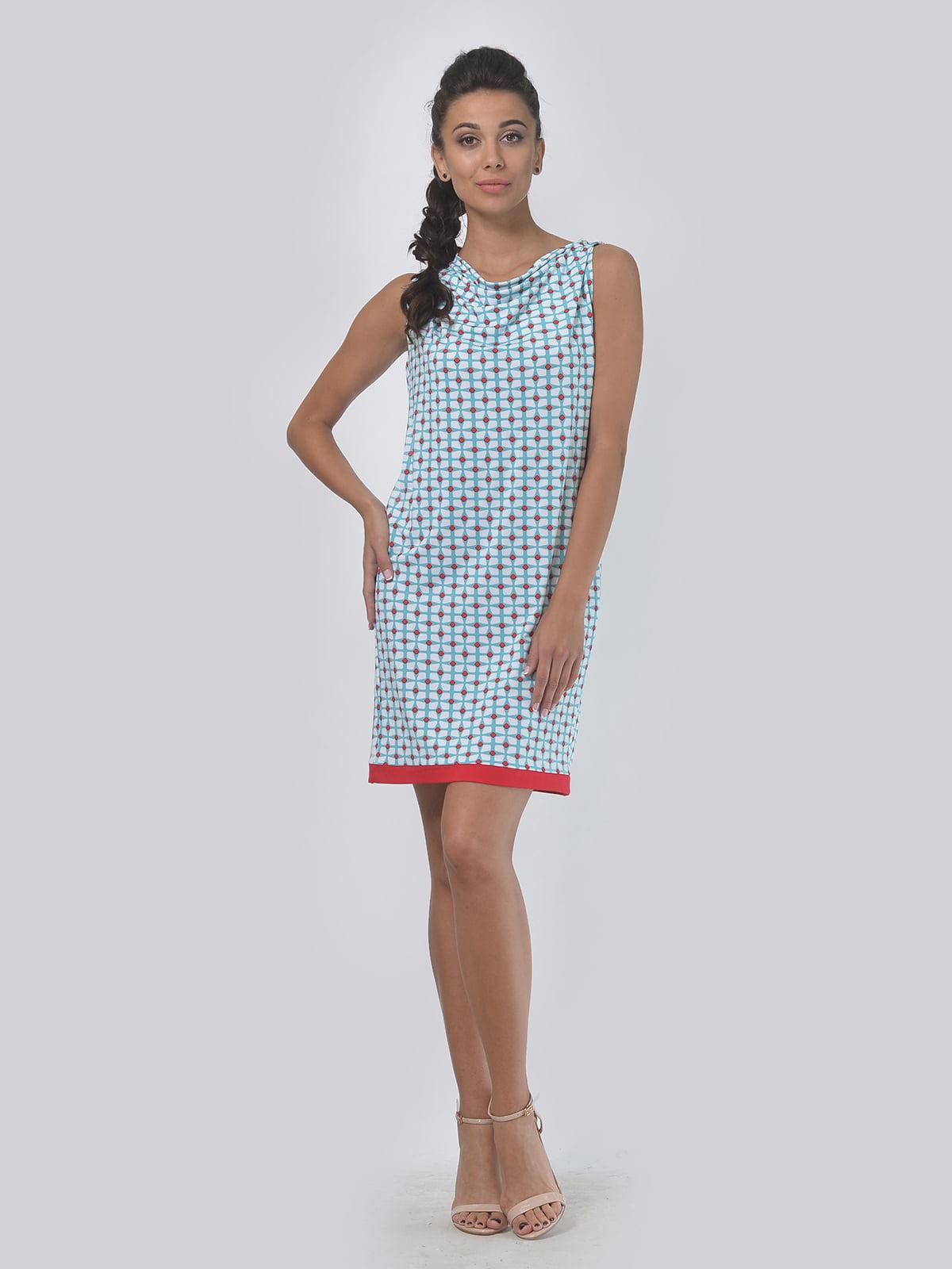 Платье молочно-голубого цвета в принт | 4142100 | фото 2