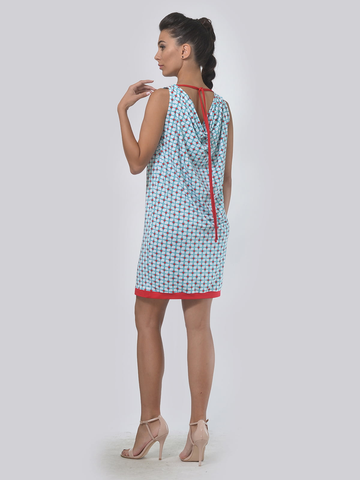 Платье молочно-голубого цвета в принт | 4142100 | фото 3