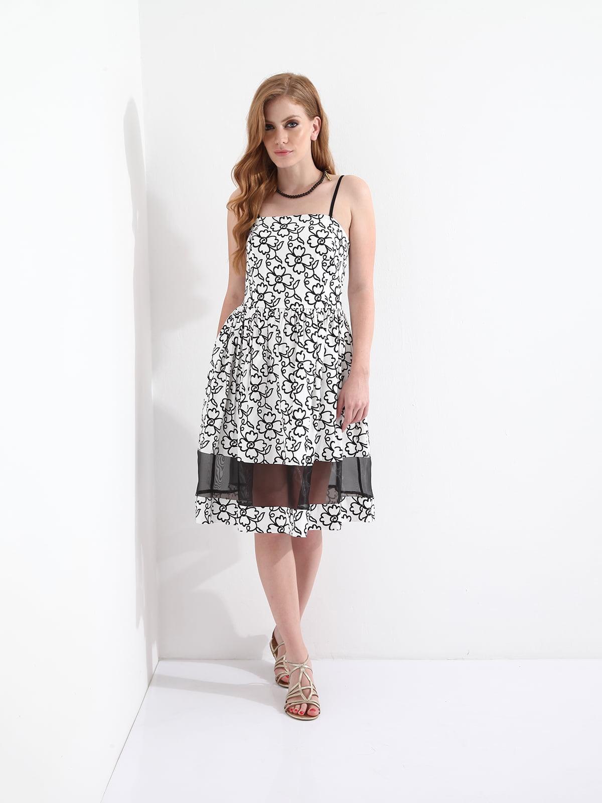Платье белое в принт | 4151239