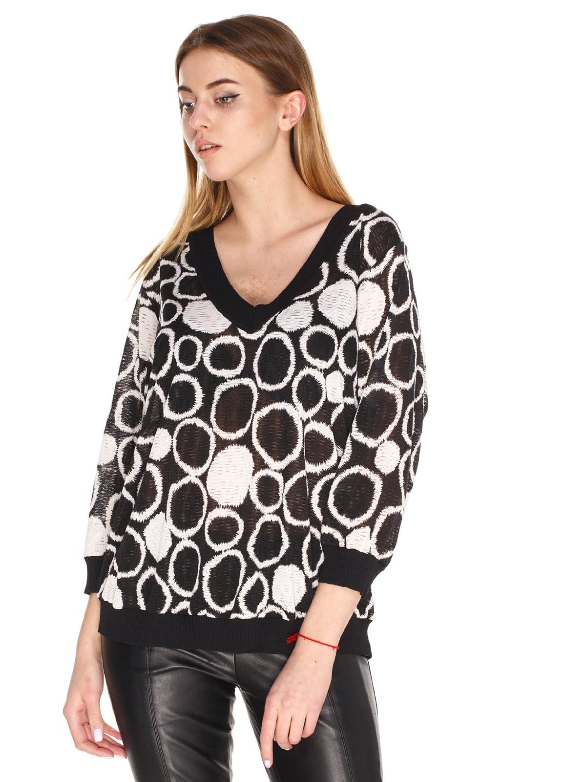 Пуловер черный в принт | 4131593
