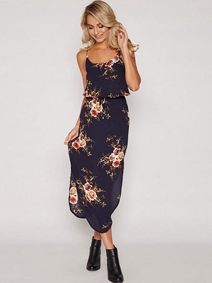 Сукня темно-синя в квітковий принт | 4166191