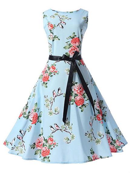 Сукня блакитна в квітковий принт | 4166672