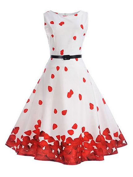 Платье бело-красное с принтом | 4166673