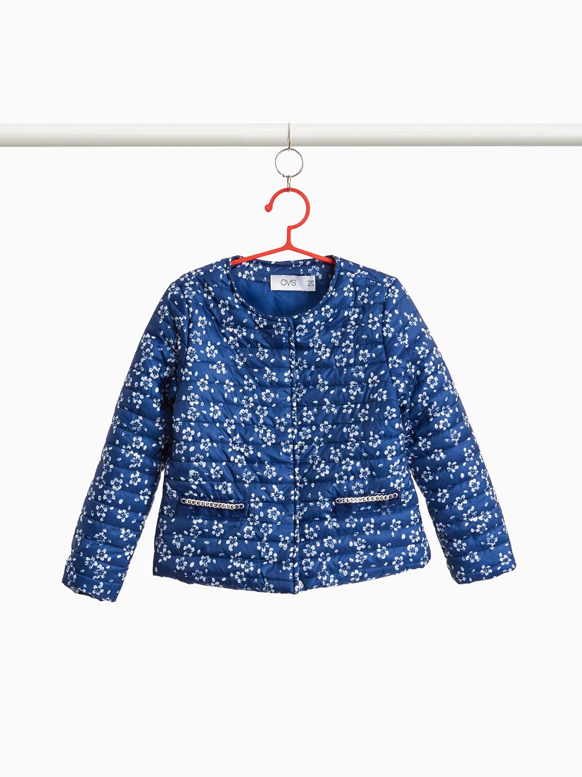 Куртка синяя в принт | 4057463