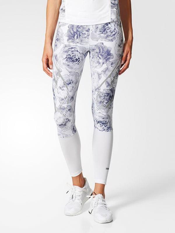 Легінси білі з квітковим принтом | 4104062