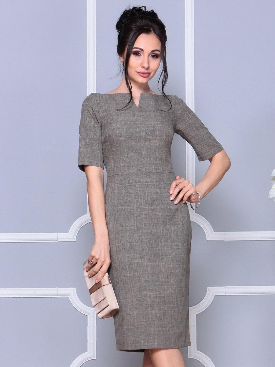 Платье цвета бежевый хаки   4178102