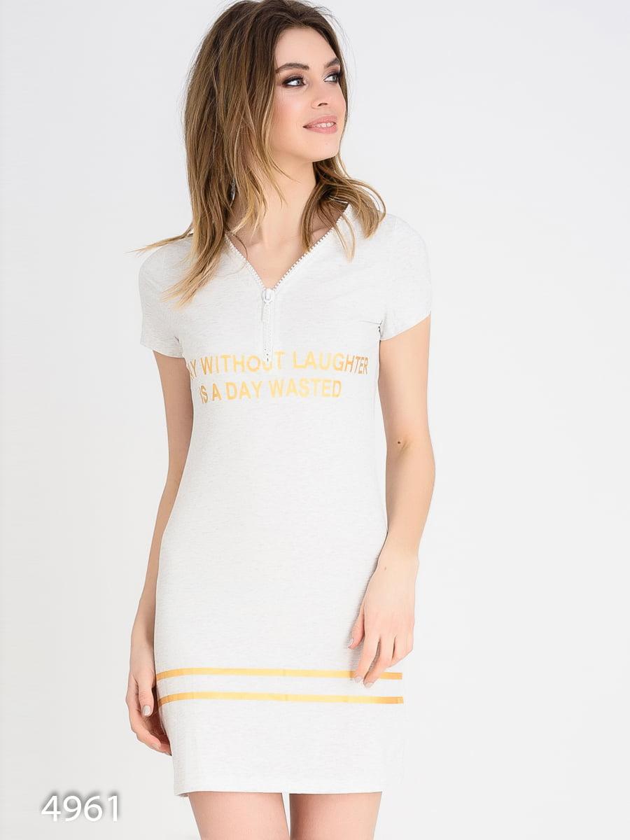 Платье серое с принтом | 4165346