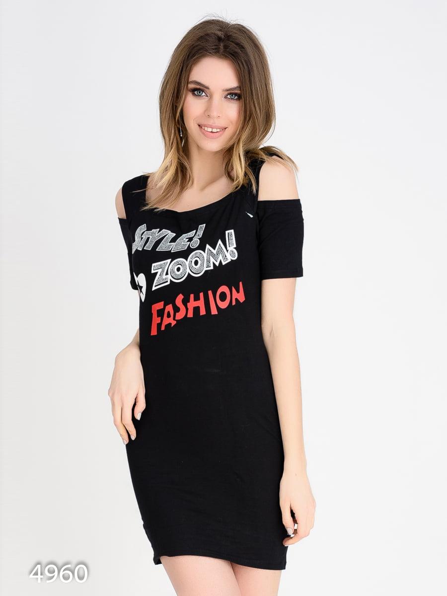 Платье черное с принтом | 4165351