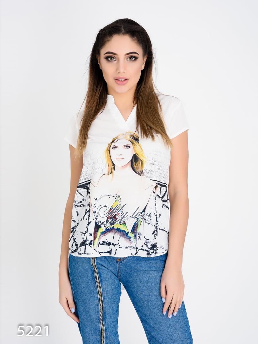 Блуза белая с принтом   4185030