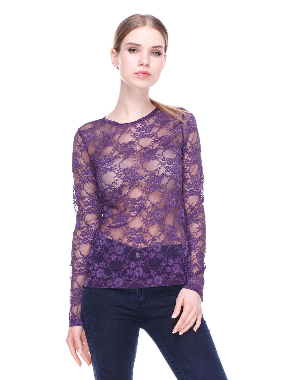 Блуза фіолетова ажурна | 2108984