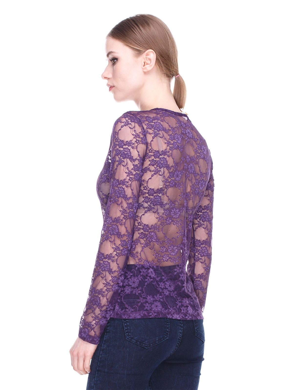 Блуза фіолетова ажурна | 2108984 | фото 2