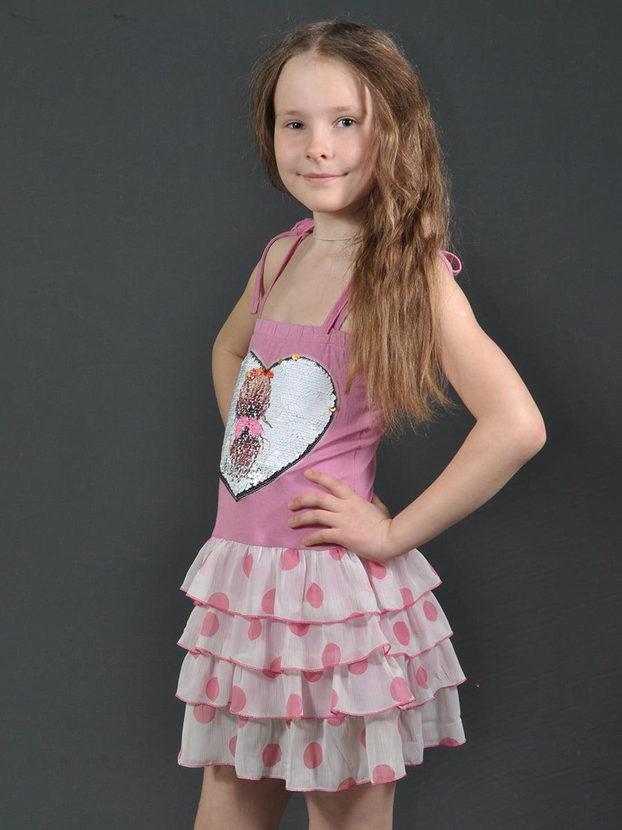 Сарафан в рожевий горошок і принт | 4184115