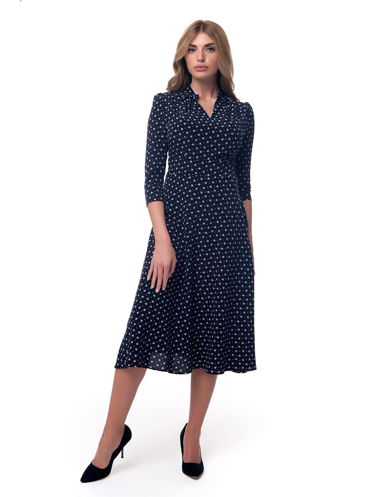 Сукня темно-синя в принт | 4190589