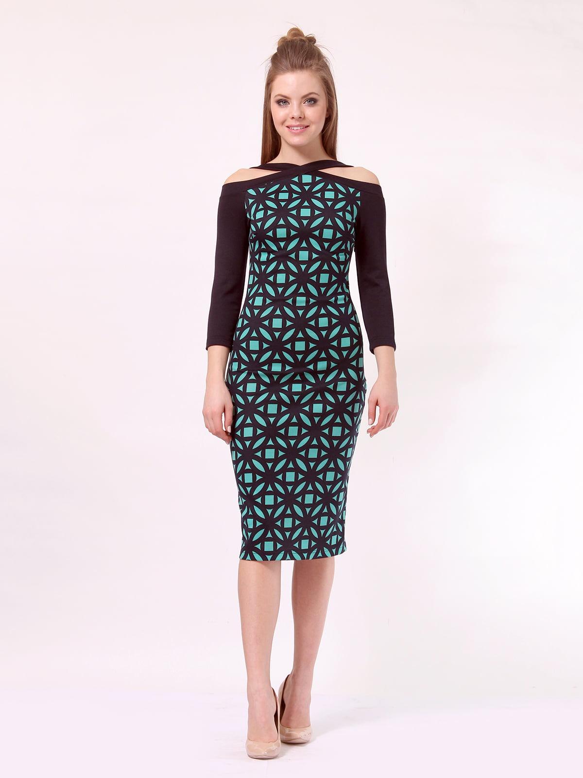 Платье темно-синее в принт   4170050
