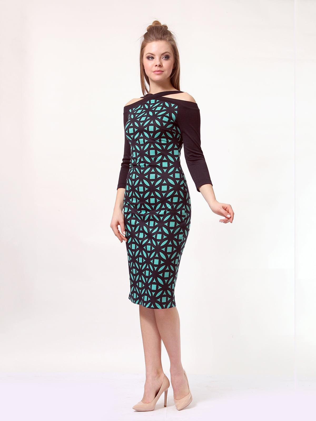 Платье темно-синее в принт   4170050   фото 2