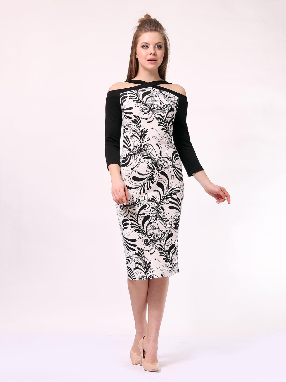 Платье черно-молочного цвета в принт | 4170053 | фото 3