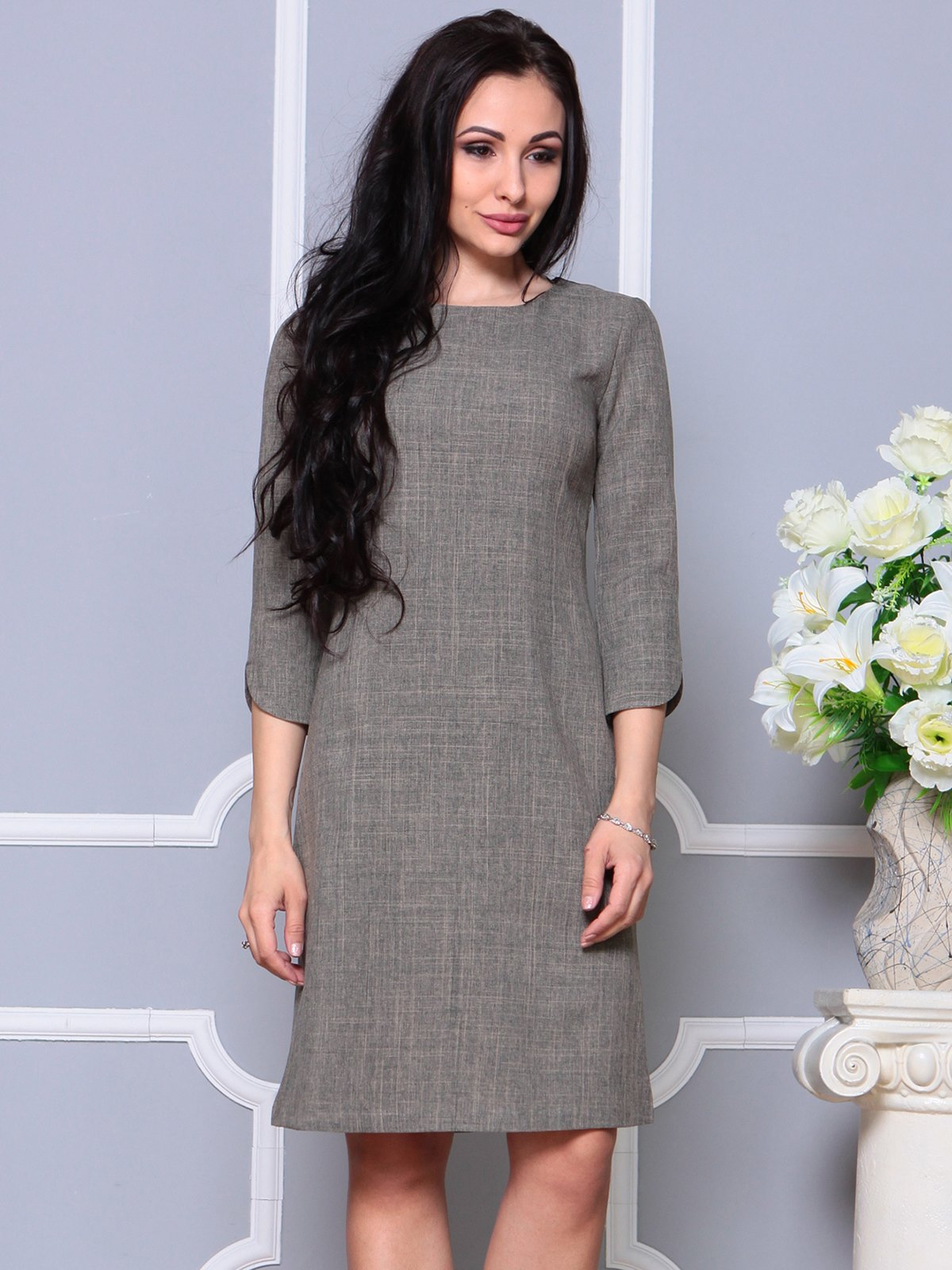 Платье цвета бежевый хаки | 4191518 | фото 3
