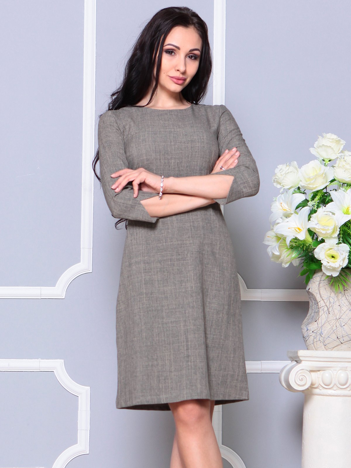 Платье цвета бежевый хаки | 4191518 | фото 4