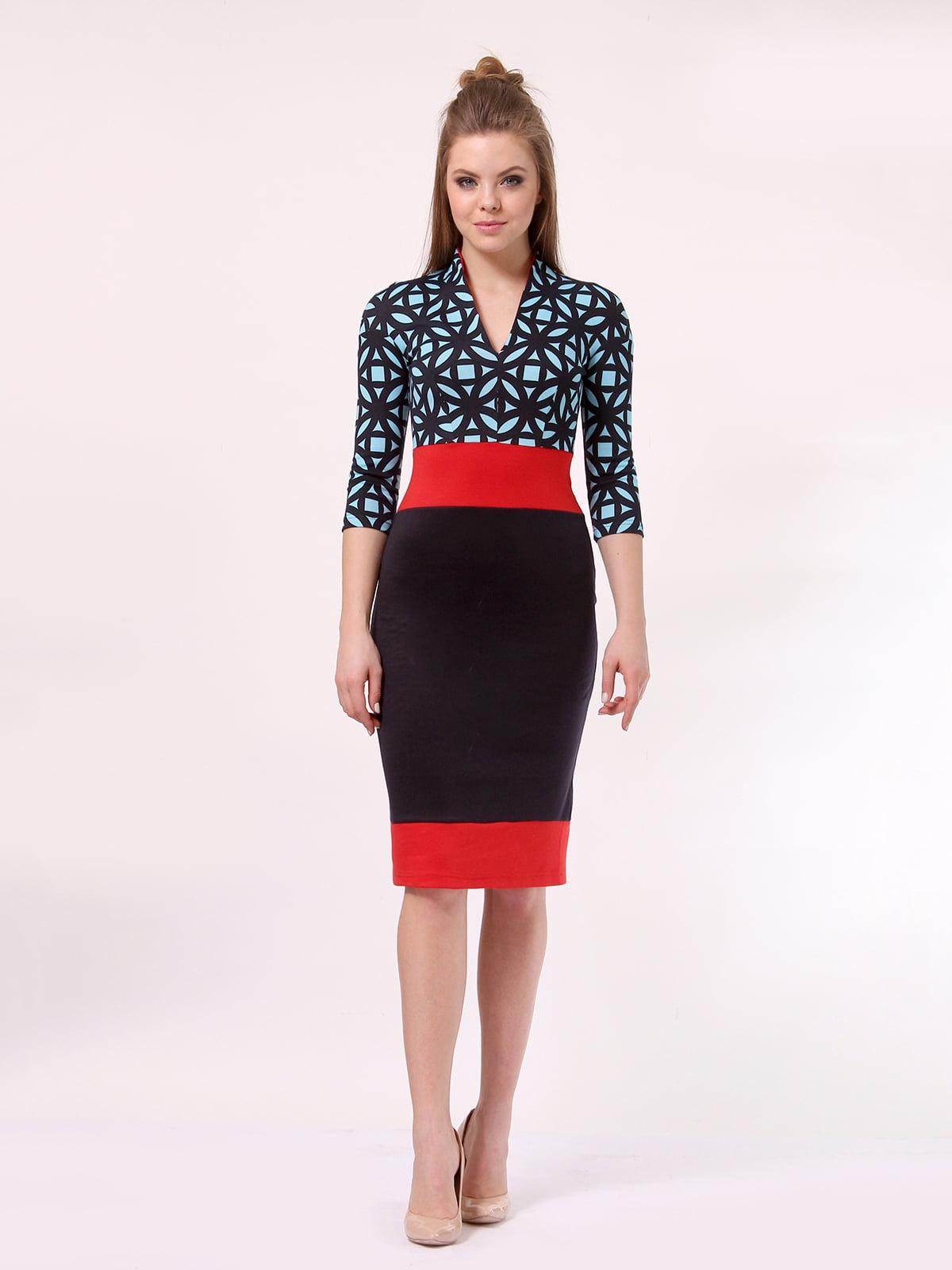 Платье комбинированной расцветки   4187505
