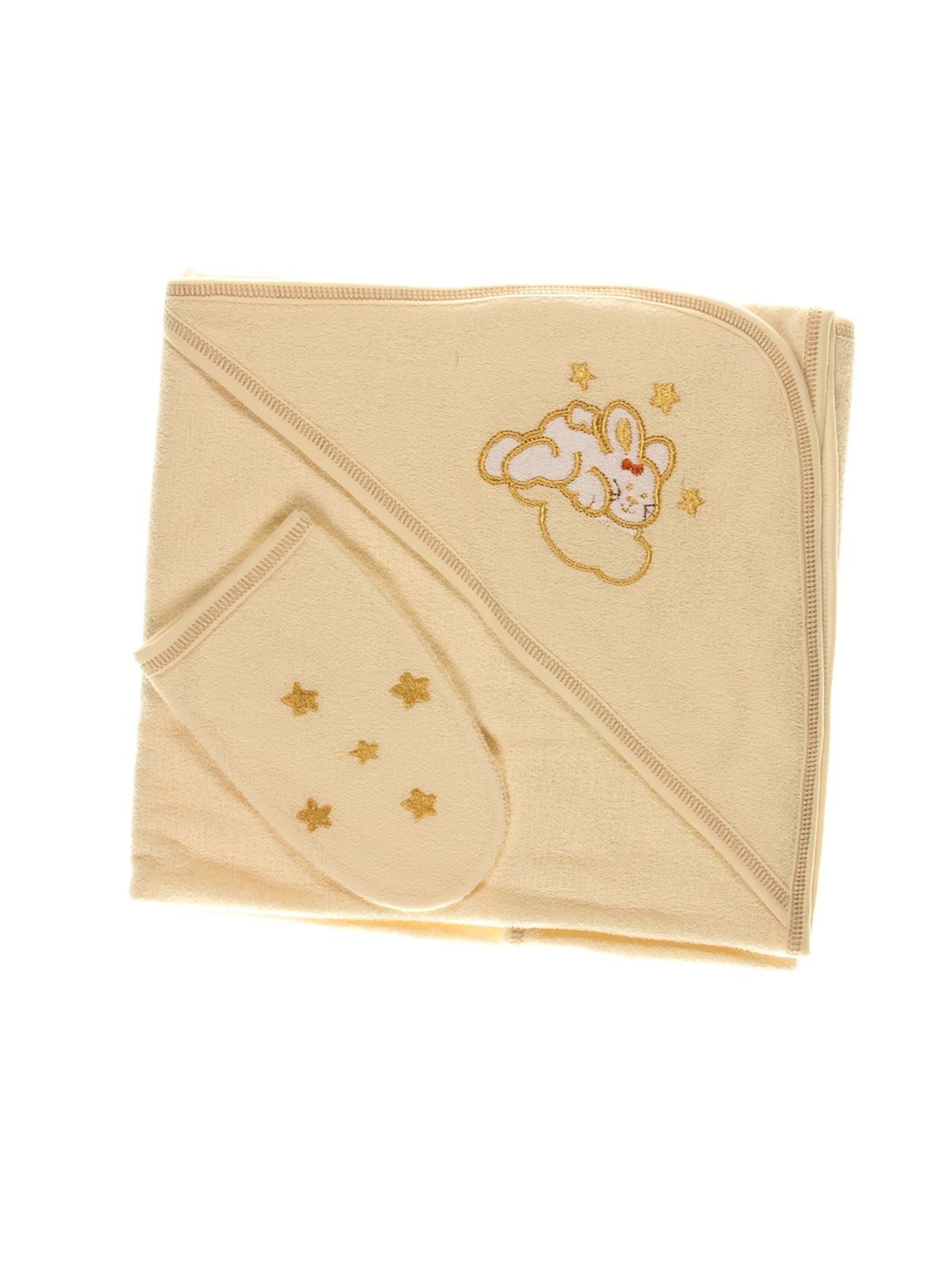 Комплект для купания: полотенце-уголок и рукавичка | 2930139