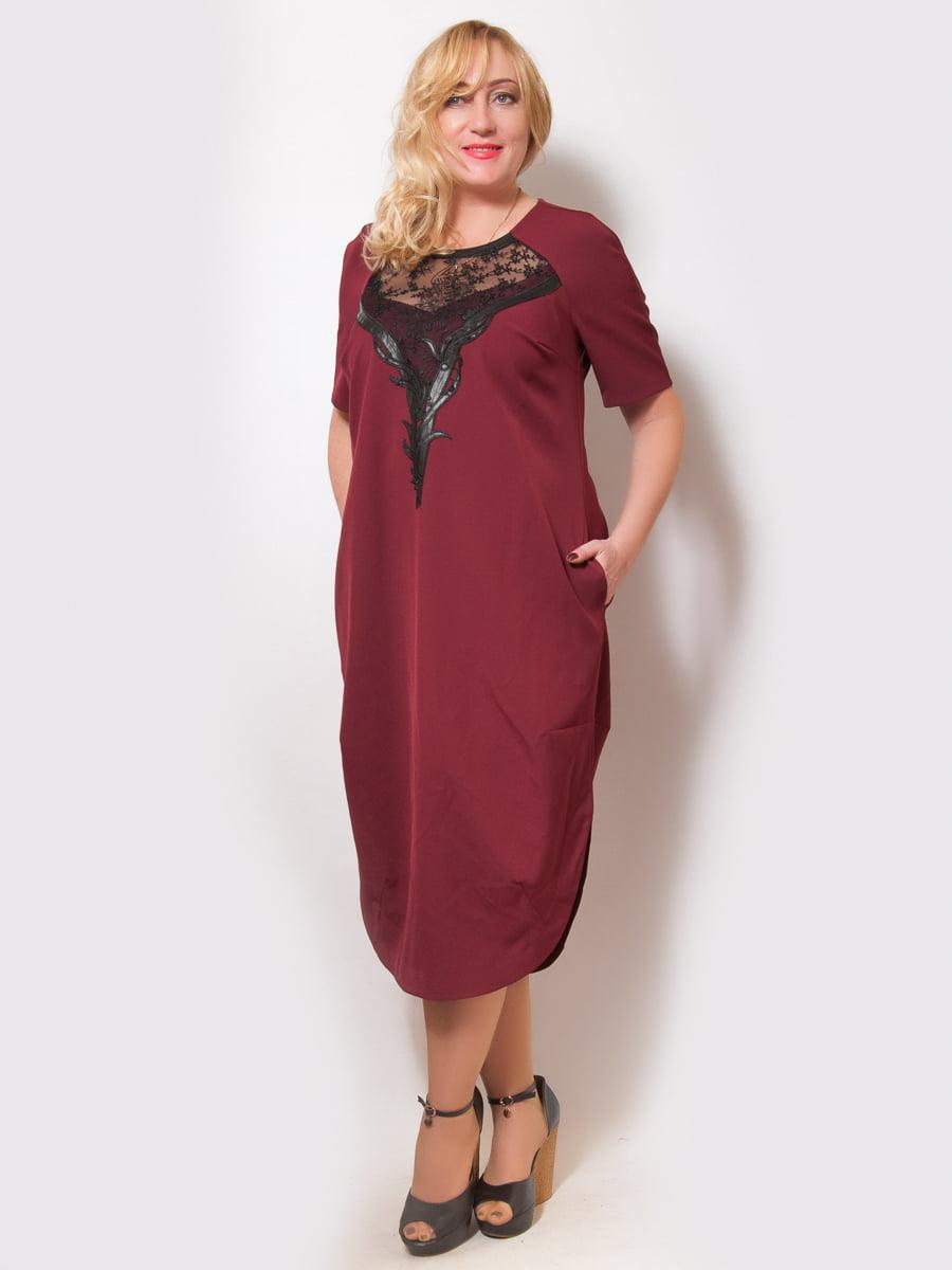 Платье бордовое | 4211912