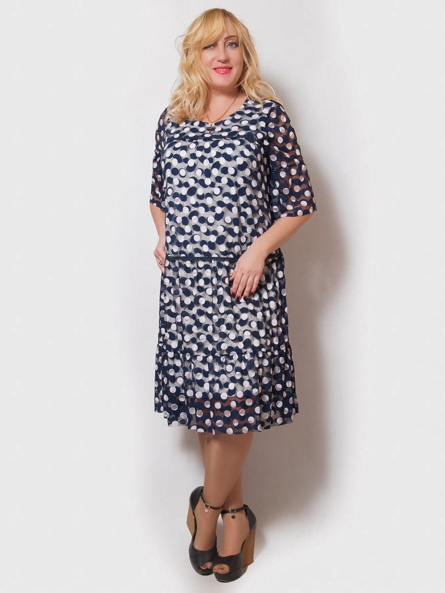 Сукня синя з принтом | 4211930