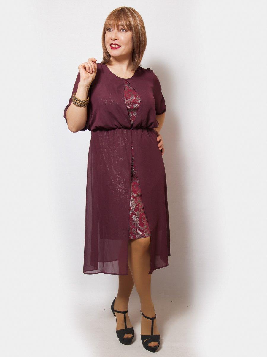 Платье бордовое с принтом | 4211931