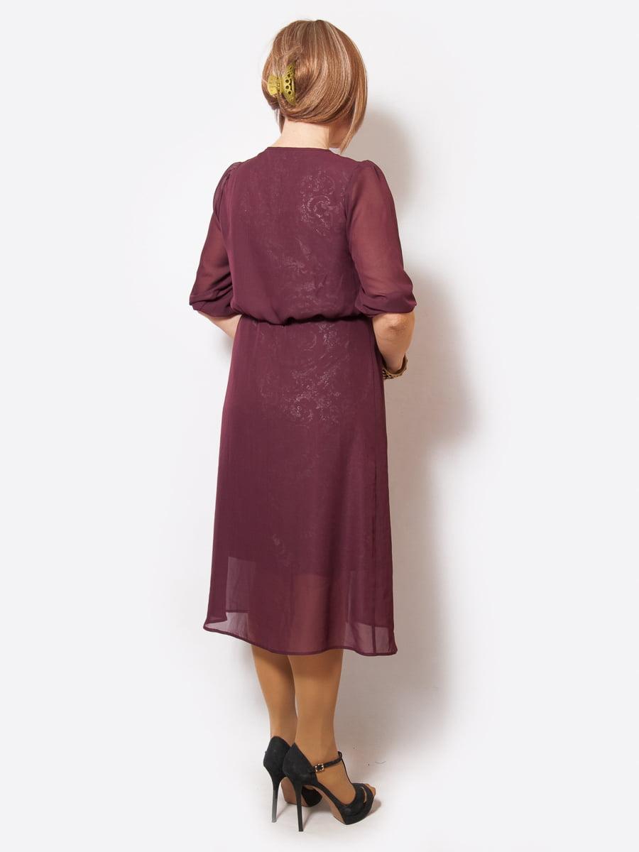 Платье бордовое с принтом | 4211931 | фото 2