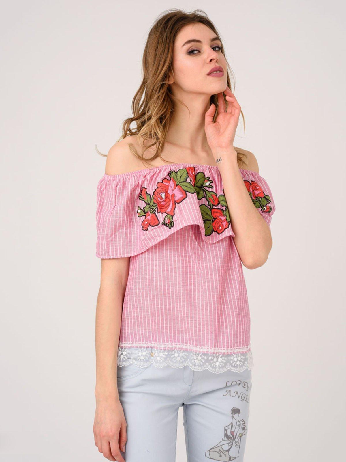 Блуза в полоску с вышивкой | 4214479