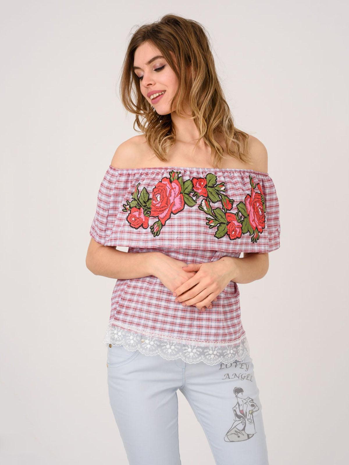 Блуза бордовая с вышивкой | 4214498