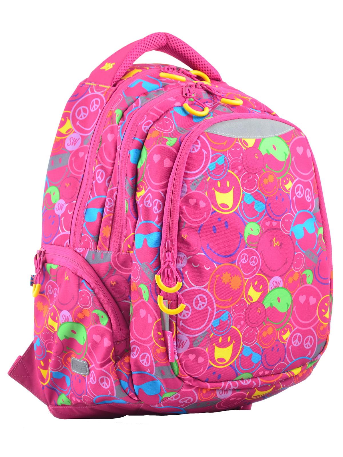Рюкзак рожевий в принт | 4214930