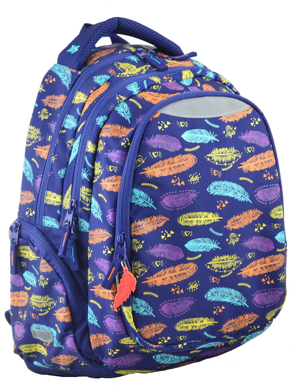Рюкзак синій в принт | 4214931
