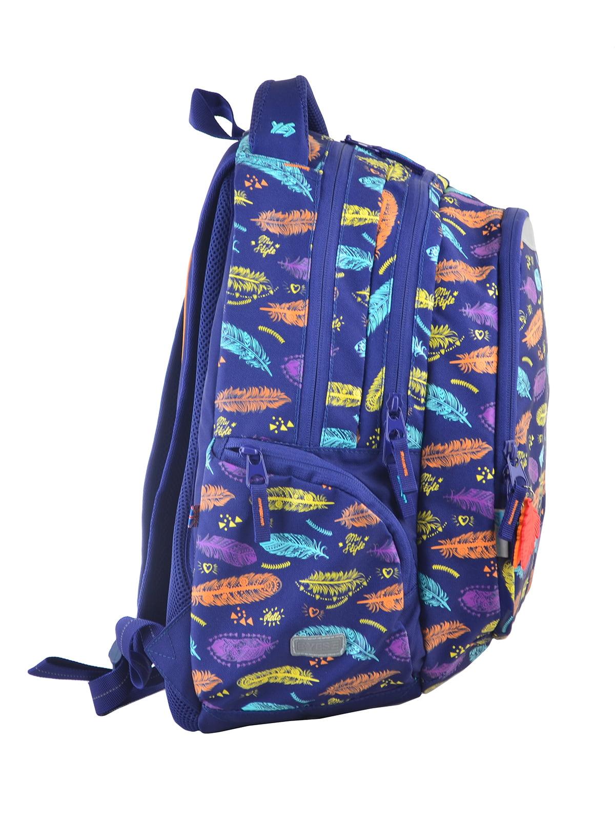 Рюкзак синій в принт | 4214931 | фото 2