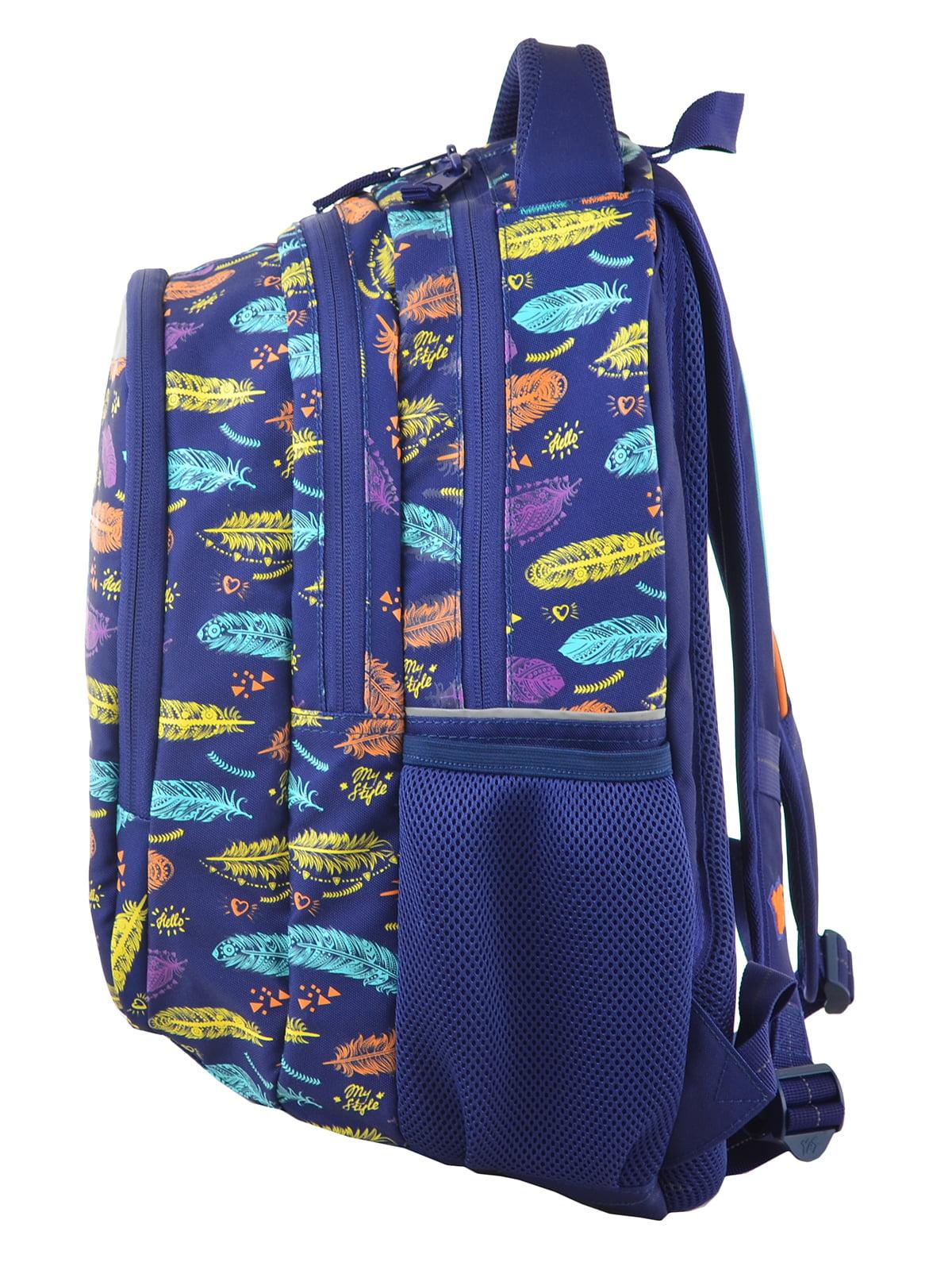 Рюкзак синій в принт | 4214931 | фото 3
