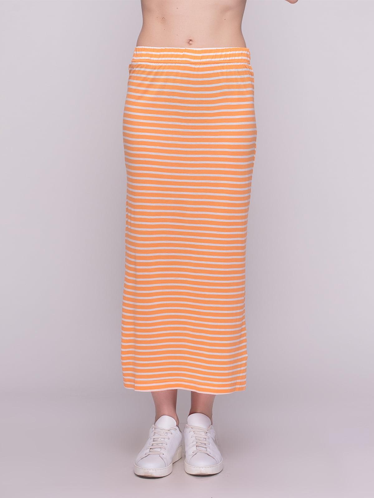 Юбка оранжевая в полоску | 4210216 | фото 2
