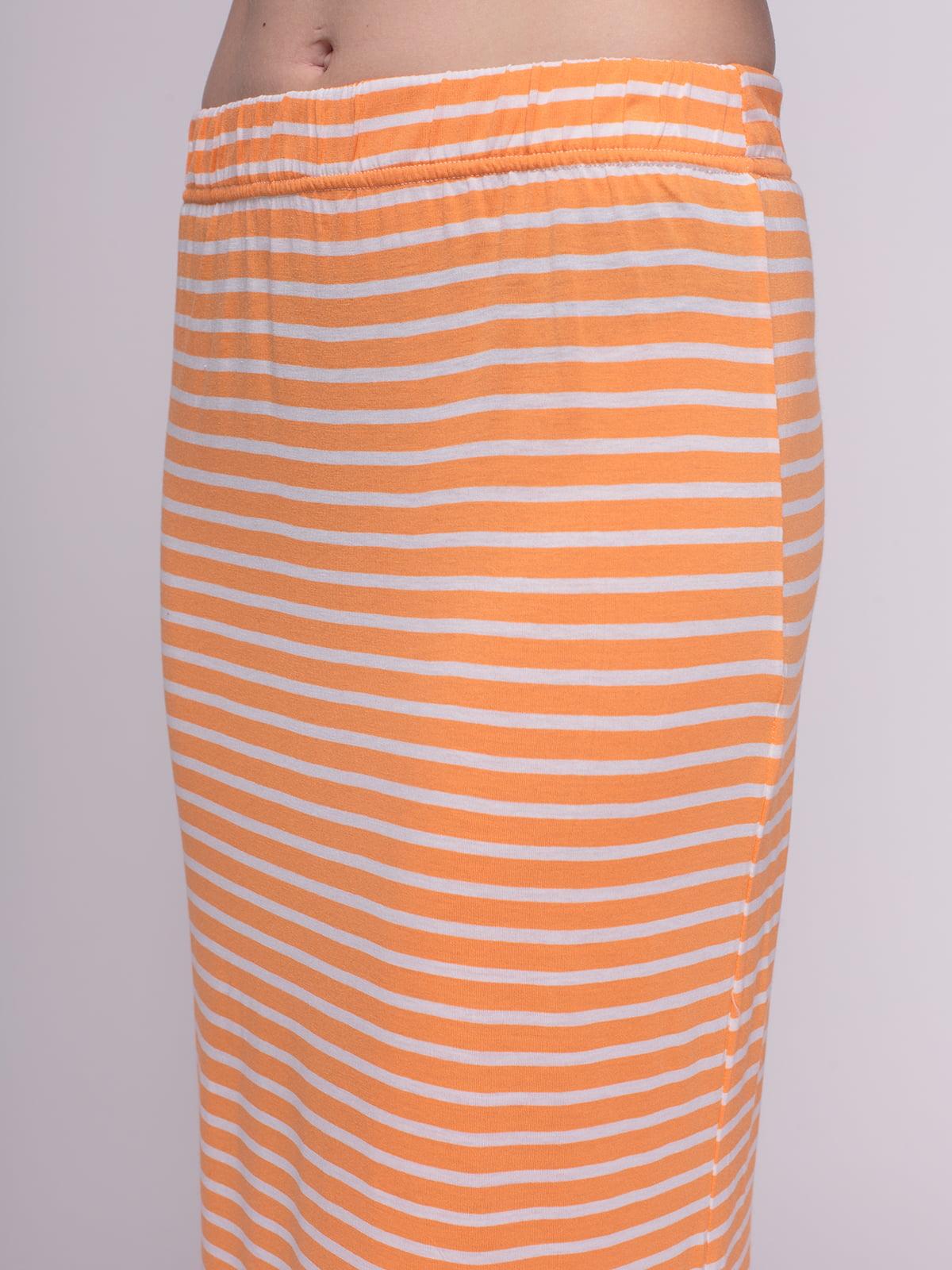 Юбка оранжевая в полоску | 4210216 | фото 4