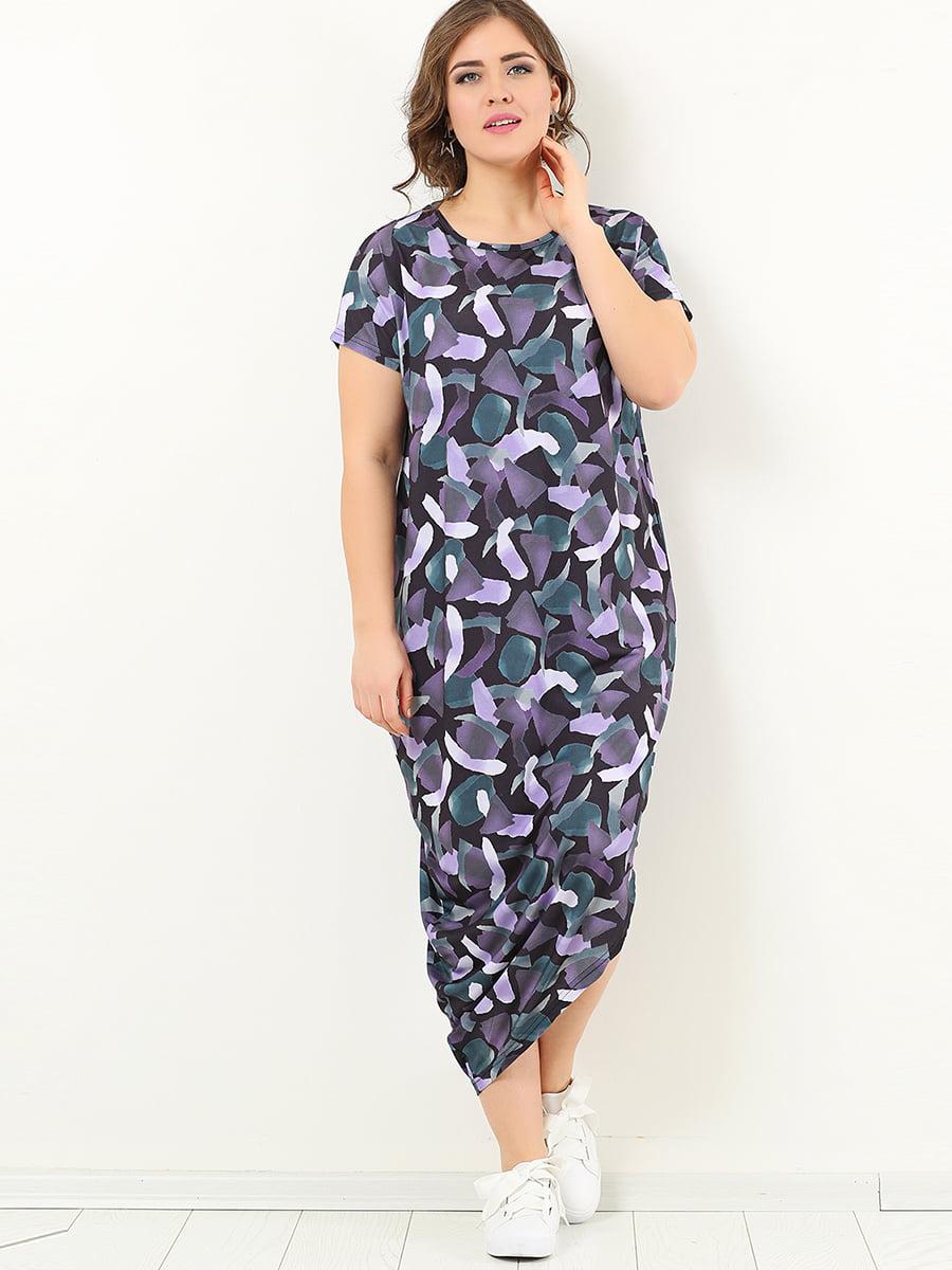 Сукня фіолетова в принт | 4213293