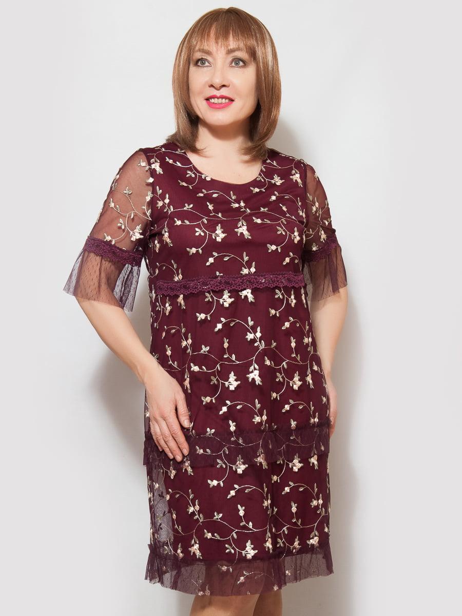 Сукня бордова у візерунок | 4220229