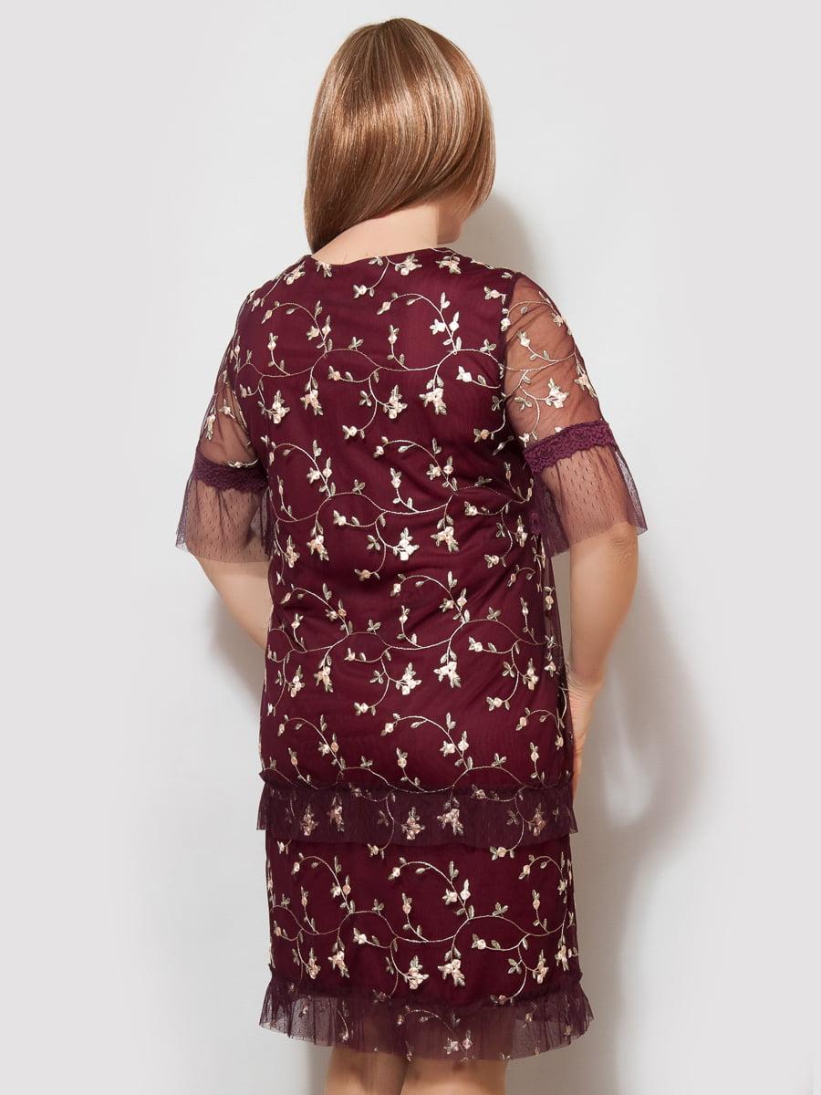 Сукня бордова у візерунок | 4220229 | фото 2