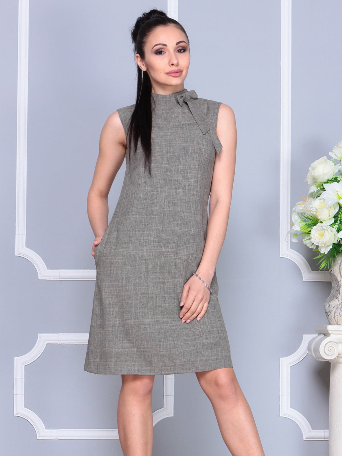 Платье цвета бежевый хаки | 4222500